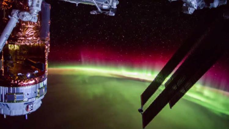 Vista alucinante desde el mejor lugar: captan una aurora boreal desde la EEI (VIDEO)