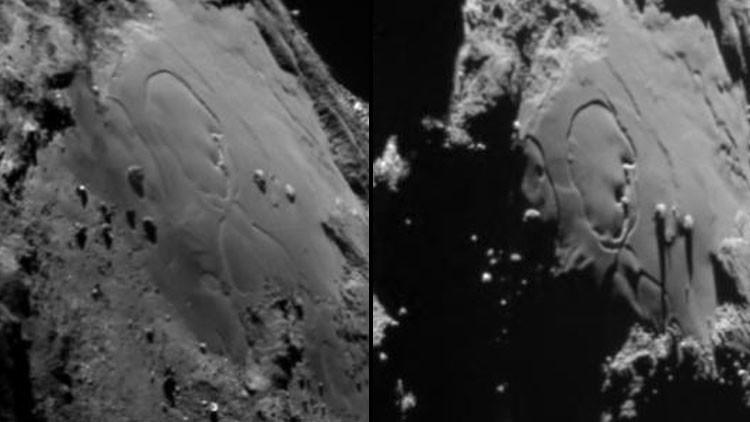 Rosetta capta los cambios dramáticos de superficie de su cometa