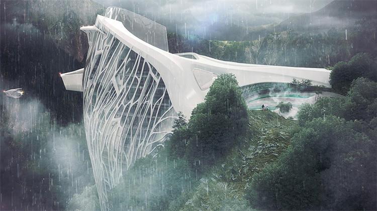 Presentan un titánico proyecto futurista de un hotel encallado en los Alpes