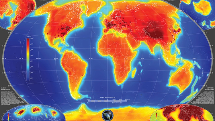 Elaboran el primer mapa global que muestra los antineutrinos del interior de la Tierra