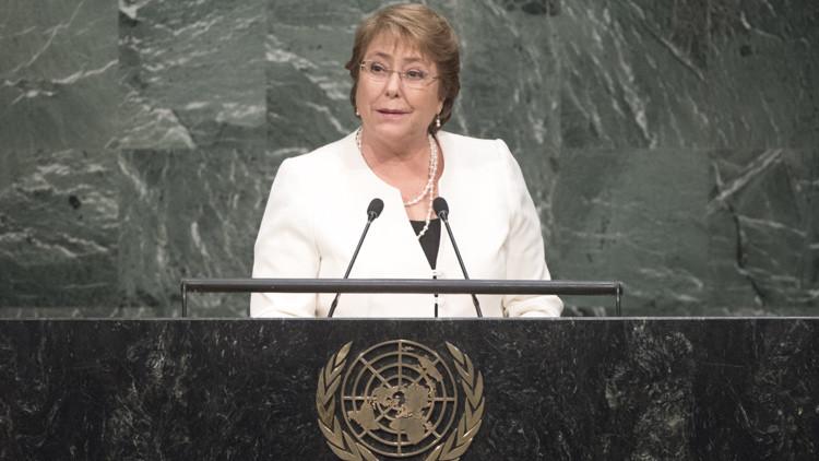 Michelle Bachelet interviene ante la Asamblea General de la ONU