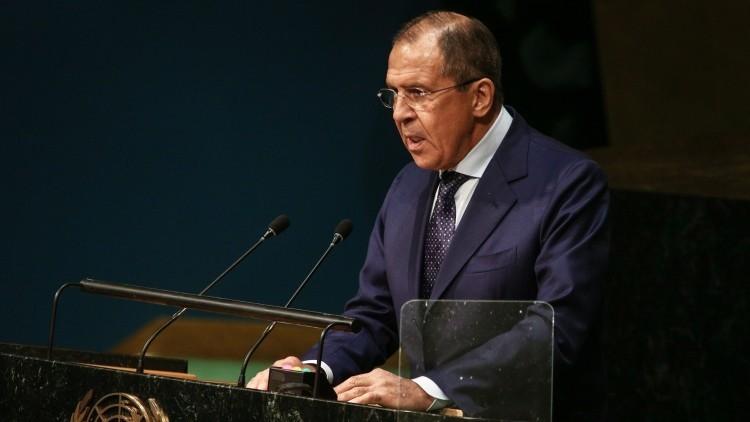 Serguéi Lavrov en la tribuna de la Asamblea General de la ONU