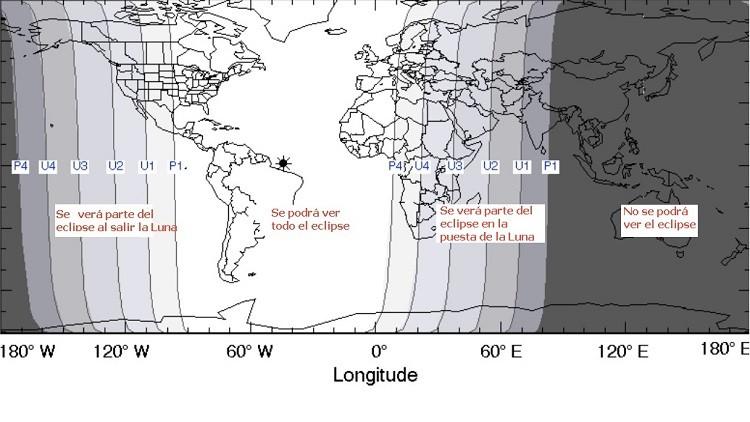 Mapa del eclipse total