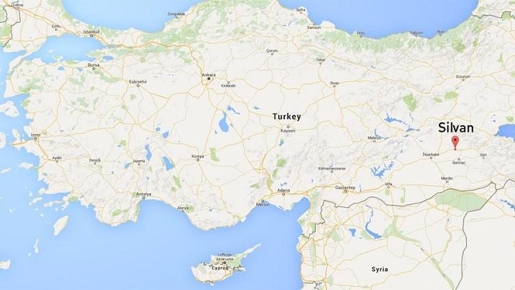 La ciudad kurda de Silvan en el mapa de Turquía