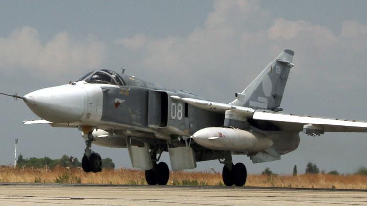 Bombarderos tácticos Su-24 continúan ofensiva contra el Estado Islámico en Siria (Video)