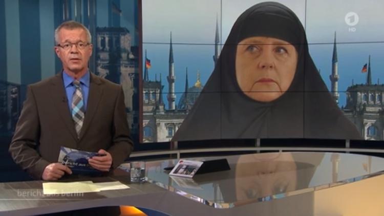 Una cadena alemana muestra un fotomontaje de Angela Merkel con hiyab y desata la polémica
