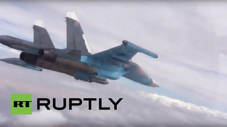 Video: Así eliminaron cazas rusos a 200 yihadistas en Siria con bombas guiadas