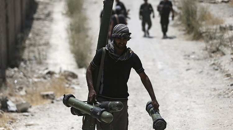 Combatiente del Ejército Sirio Libre en la localidad de Jobar