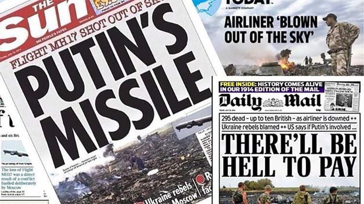 Diversas portadas de periódicos relativas a la catástrofe del MH17