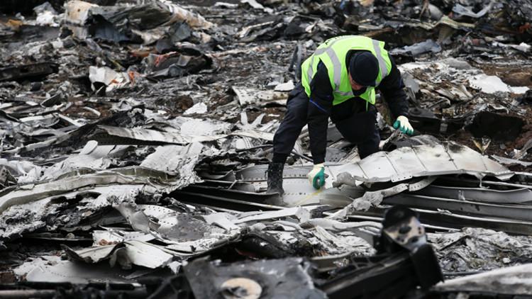 Un investigador neerlandés trabaja en el lugar del siniestro del Boeing malasio cerca de la aldea de Grábovo, en Donbass.
