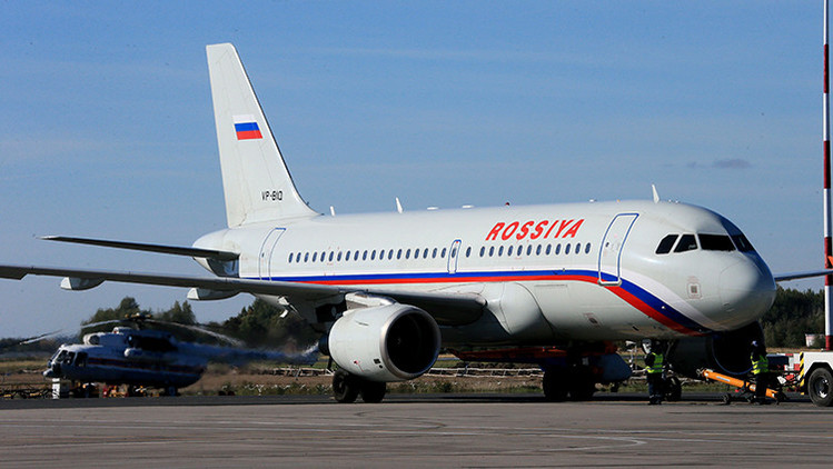 Avión de aerolínea Rusia en el aeropuerto de Khrabrovo, en Kaliningrado.
