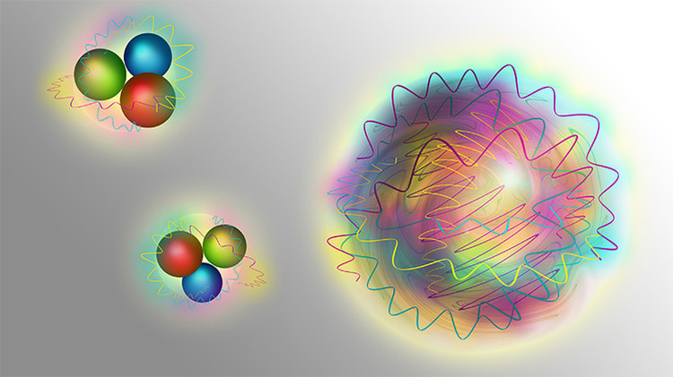 Nucleons consist (left) of quarks (matter particles) and gluons (force particles). A glueball (right) is made up purely of gluons.