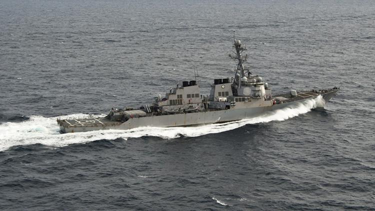 Destructor estadounidense Porter en el océano Atlántico.