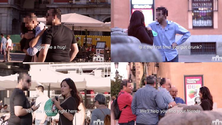 Experimento social: Vea la reacción de los hombres ante una mujer ebria en pleno día en Madrid
