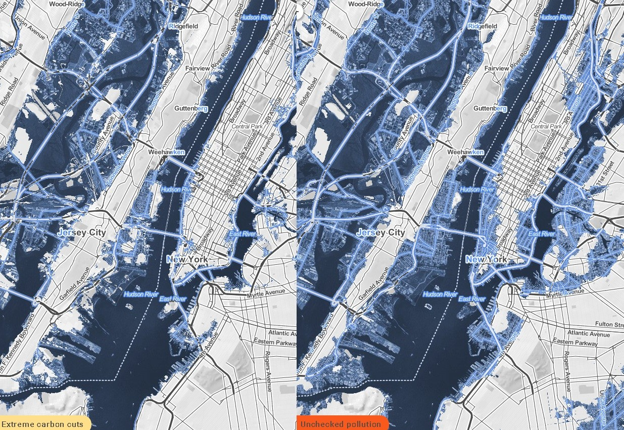 Mapa interactivo muestra como Nueva York sumergirá bajo el agua