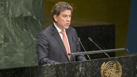 El representante permanente de Perú, Gustavo Meza-Cuadra, durante la Asamblea General de la ONU.