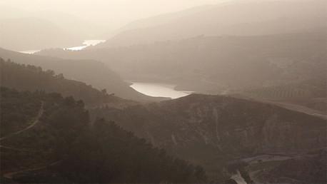 Vista general de la presa King Talal, cerca de Jerash, Jordania