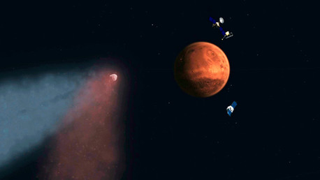 Un artista dibujó a una cometa acercandose al Marte, rodeado por satélites artificiales.