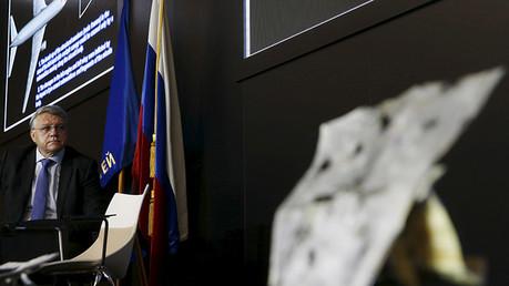 Yan Nóvikov, presidente del consorcio ruso de defensa antiaérea Almaz-Antei, durante una rueda de prensa dedicada a presentar los resultados de la investigación de la catástrofe del vuelo MH17 de Malaysia Airlines en el este de Ucrania. Moscú, Rusia.