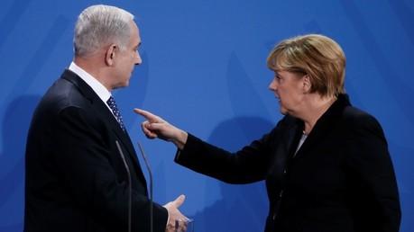 Angela Merkel y Benjamín Netanyahu en una rueda de prensa tras una reunión bilateral en Berlín, 2012.