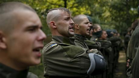 Voluntantarios ucranianos del batallón neonazi 'Azov', agosto 2015.