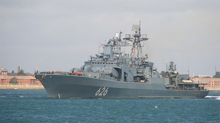 Un antisubmarino de la Armada rusa en pleno ejercicio se acerca a las costas de España