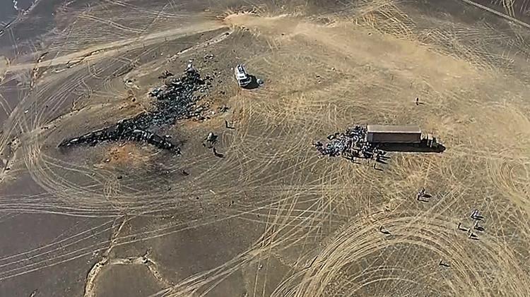 Vista desde un dron del lugar de la caída del avión ruso Airbus A321 de la compñía aérea Metrojet / RIA NOVOSTI