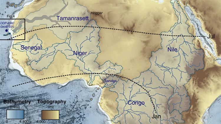 Mapa de los principales ríos de África. En color gris el paleodrenaje recientemente identificado