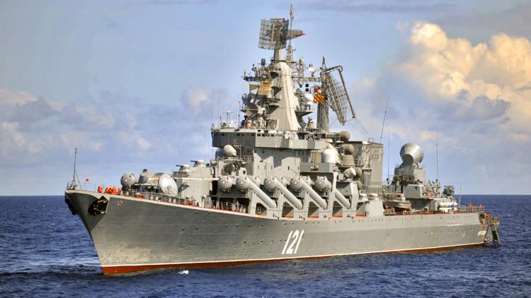 El crucero desplegado en Latakia está listo para derribar cualquier amenaza para los aviones rusos