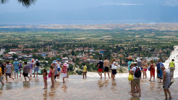 Turistas rusos en Pamukkale / Turquía