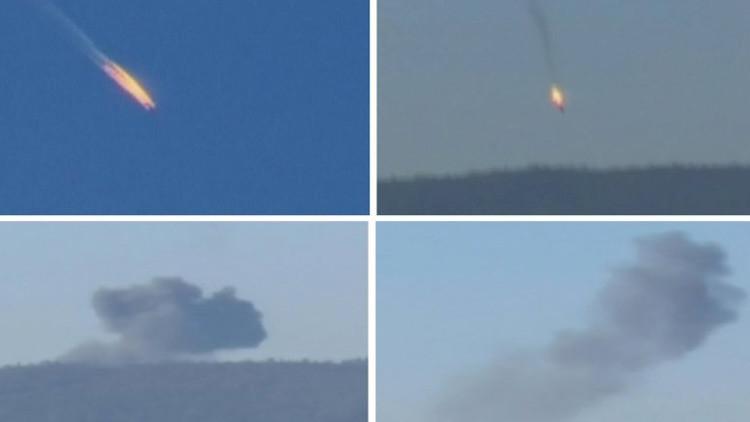 Captura de pantalla del material del canal televisivo Haberturk sobre el derribo del Su-24 ruso