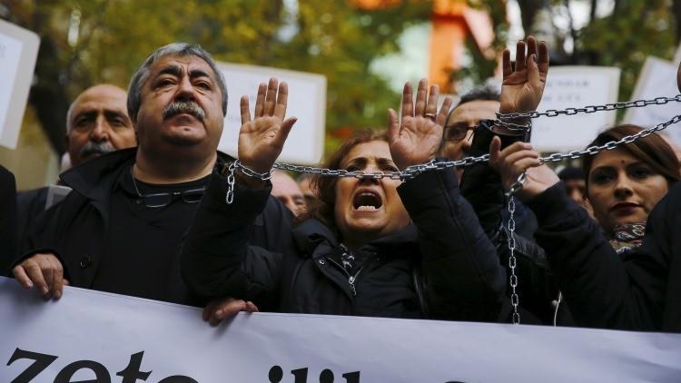 Protestas en Ankara contra la detención de dos periodistas