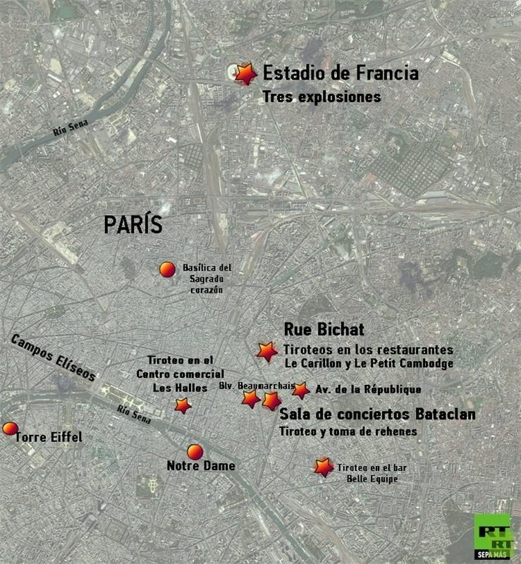 El mapa de atentados cometidos este viernes en Paris