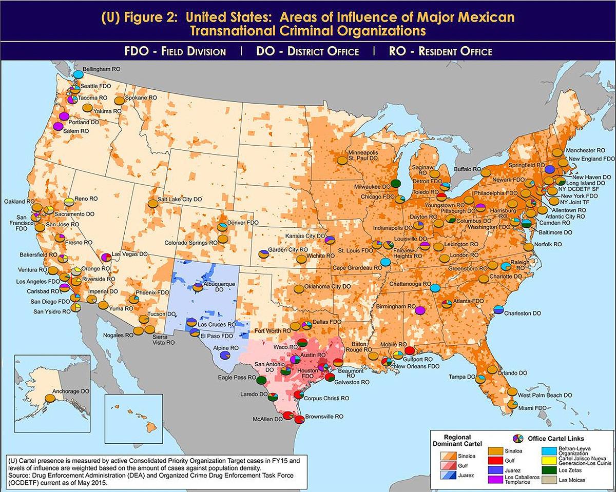 Cómo se reparten los cárteles mexicanos sus zonas de influencia en Estados Unidos