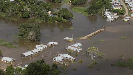 Inundación de la localidad de Tabatinga en el Estado brasileño de Amazonas, el 26 de april de 2015.