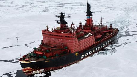 Rompehielos atómico Yamal durante las investigaciones llevadas a cabo en el mar de Kara en el marco de la mayor expedición del Ártico en los últimos 20 años, organizada por la petrolera Rosneft