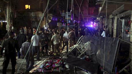 Zona dañada luego de las explosiones en los suburbios al sur de Beirut, Líbano