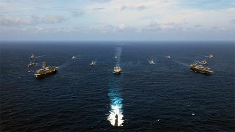 Buques de EE.UU., India, Japón y Australia y Singapur en la Bahía de Bengala