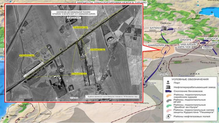 Fotos satelitales revelan tres rutas del suministro de petróleo de Siria a Turquía