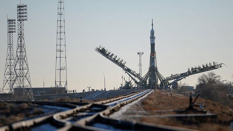 El cohete portador Soyuz-FG listo para su lanzamiento desde el cosmódromo de Baikonur
