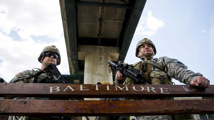 Tropas de la Guardia Nacional en Baltimore, el 28 de abril de 2015