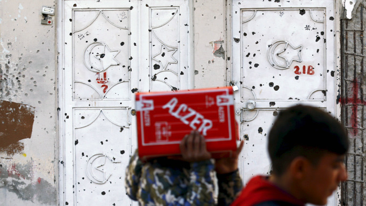 Una casa acribillada a balazos en la ciudad suroriental de Silvan en la provincia de Diyarbakir, Turquía.