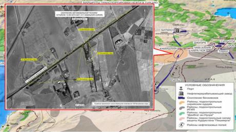 Ataque de la Fuerza Aérea de Rusia contra un depósito de petróleo en la zona de Maarat an Numan (Siria).