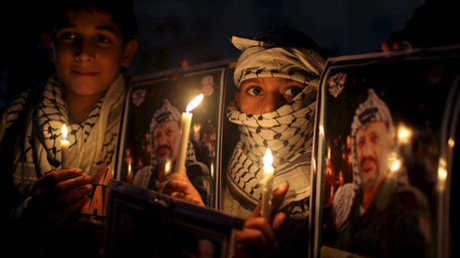 Celebraciones del undécimo aniversario de la muerte del líder palestino, Yasir Arafat, en el sur de Gaza.