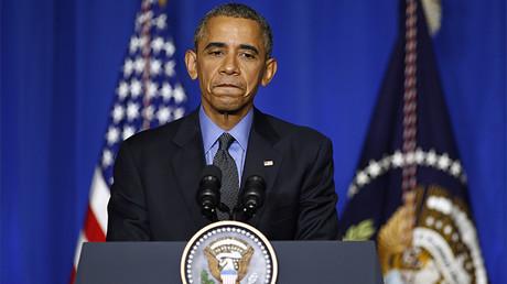 El presidente estadounidense, Barack Obama ofrece una rueda de prensa en el marco de la Conferencia Internacional sobre Cambio Climático de París, Francia, el 1 de diciembre de 2015.