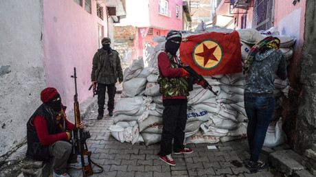 La bandera del Partido Justicia y Desarrollo de Turquía