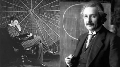 Nicola Tesla y Albert Einstein