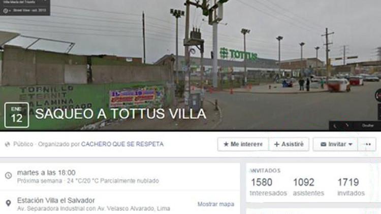 Perú: Crean un evento en Facebook para robar una tienda y les responde en broma la policía