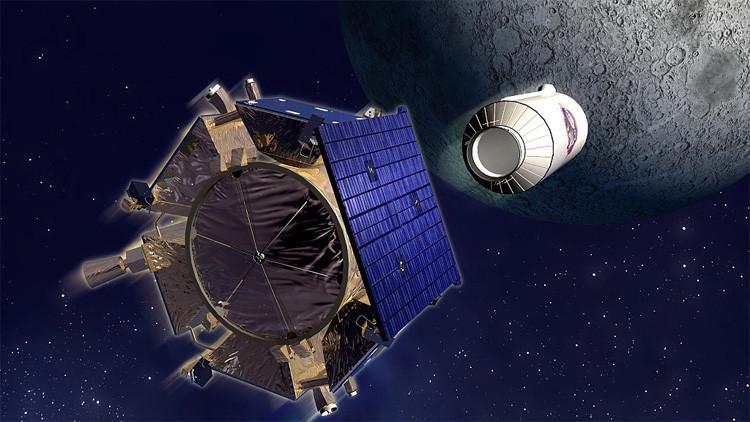 Una ilustración del lanzamiento del módulo 'Centauro' de la sonda LCROSS contra la Luna, el 9 de octubre de 2009