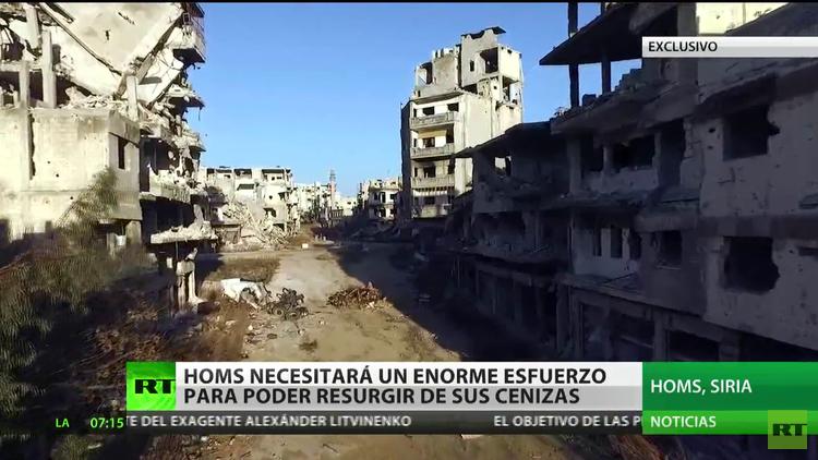 Siria: La ciudad fantasma de Homs en ruinas a vista de un dron